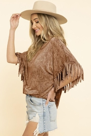 Blue Buttercup Mineral Dyed Fringe Top - Front cropped