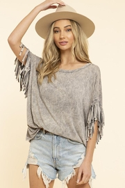 Blue Buttercup Mineral Dyed Fringe Top - Product Mini Image
