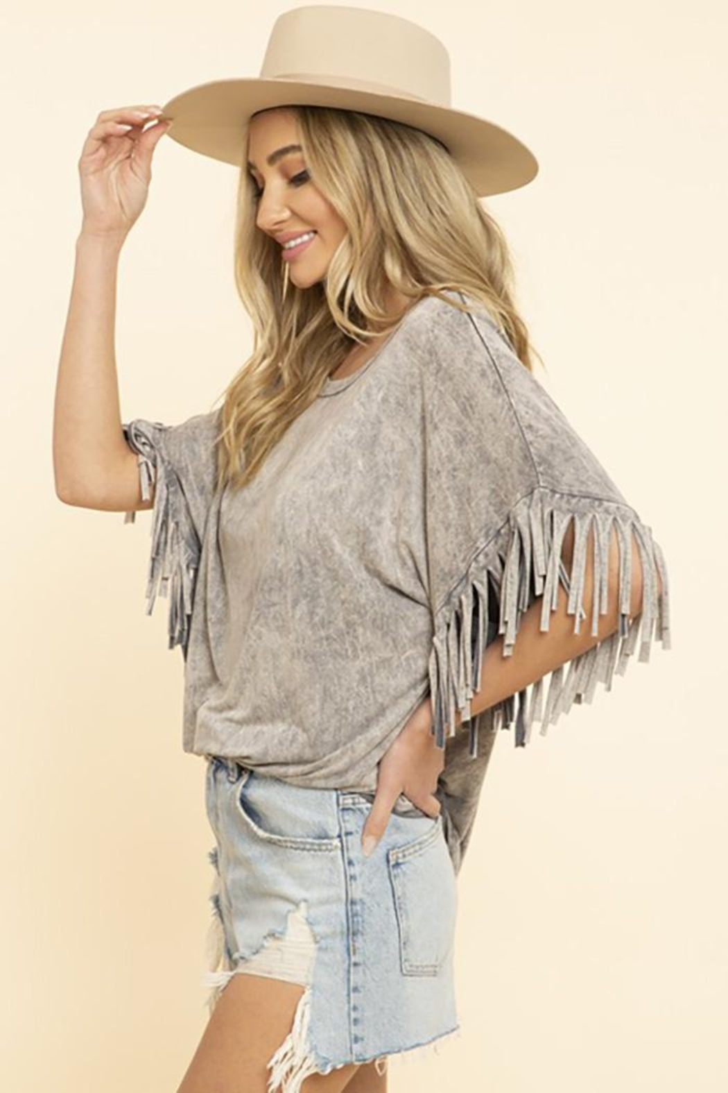 Blue Buttercup Mineral Dyed Fringe Top - Side Cropped Image
