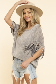 Blue Buttercup Mineral Dyed Fringe Top - Front full body