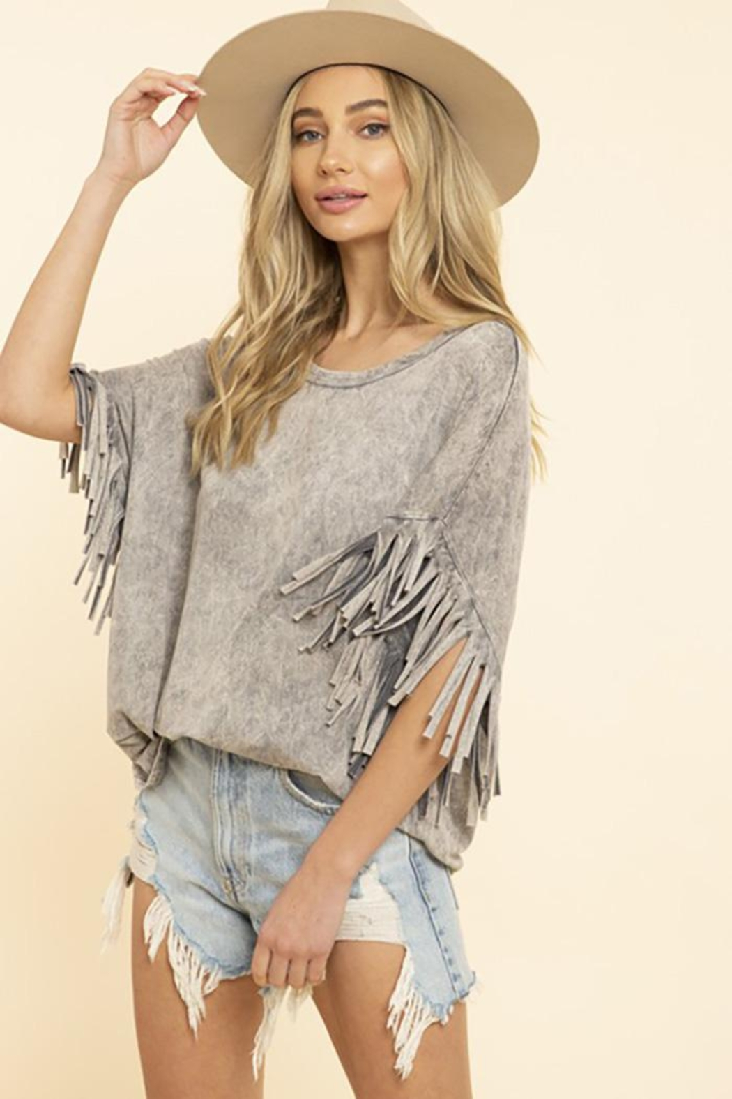 Blue Buttercup Mineral Dyed Fringe Top - Back Cropped Image