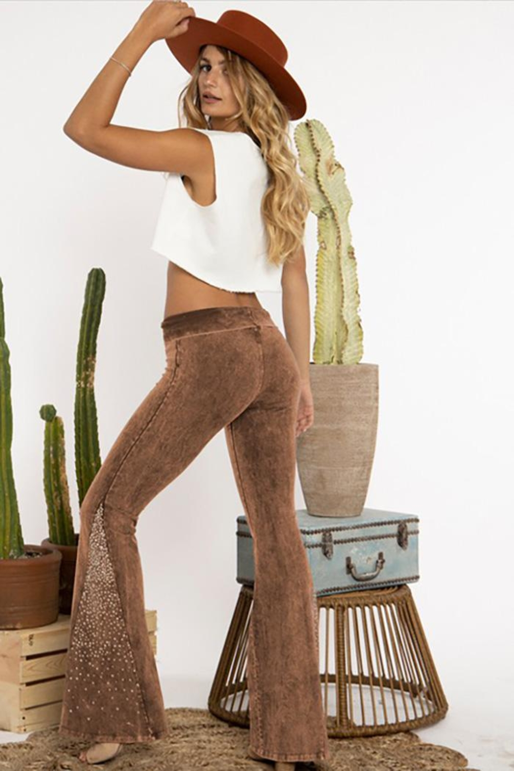 Blue Buttercup Mineral Garment Dyed Pants With Stones - Front Full Image
