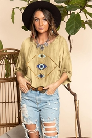 Blue Buttercup Mountain Evil Eye Printed Top - Product Mini Image
