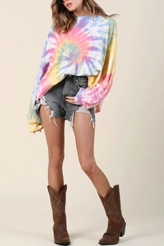 Blue Buttercup Over-Sized Tie-Dye Pullover - Product List Image