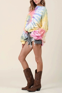 Blue Buttercup Over-Sized Tie-Dye Pullover - Alternate List Image