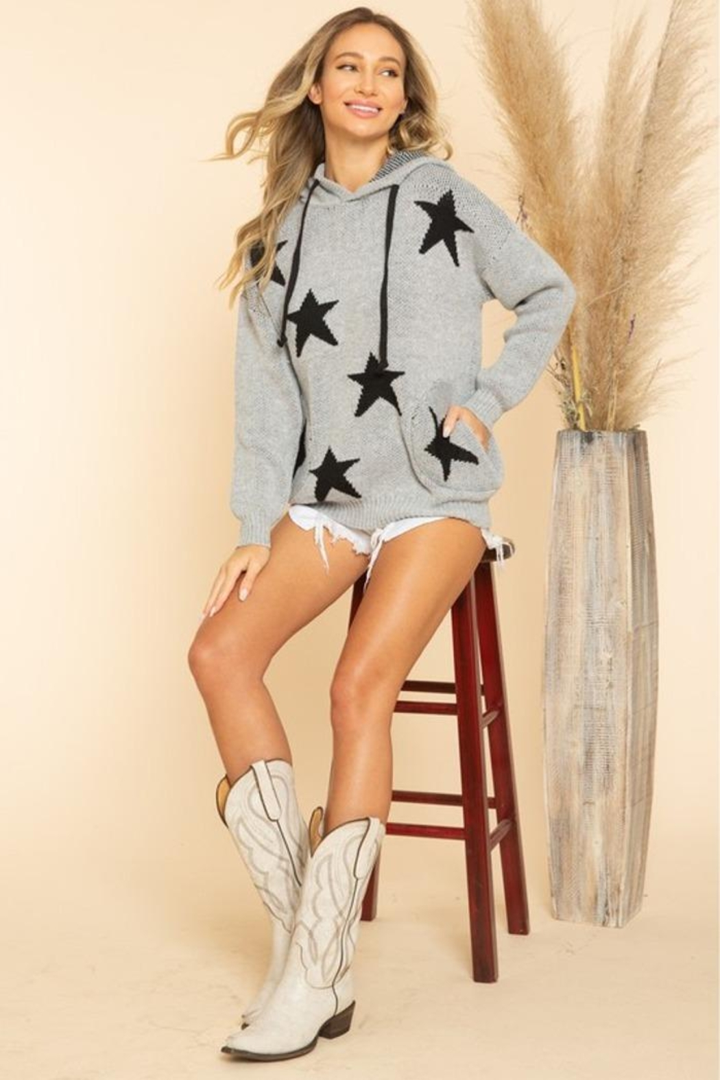 Blue Buttercup Stars Sweaters - Back Cropped Image