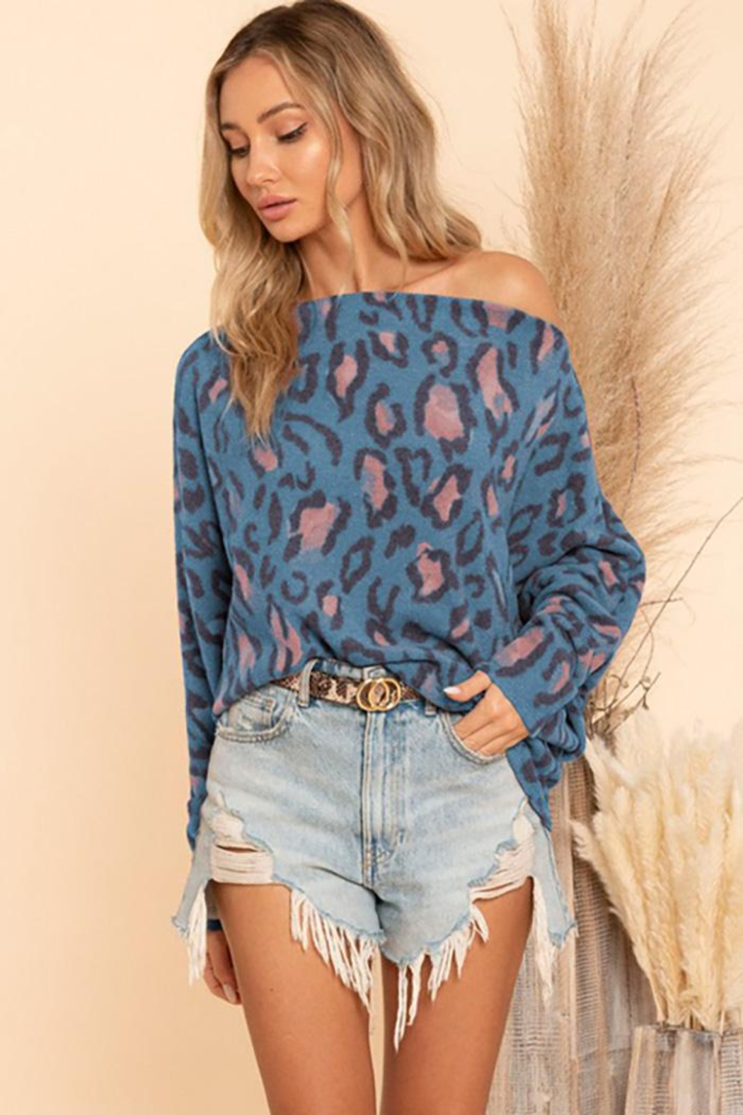 Blue Buttercup Textured Knit With Dolman Sleeve Off Shoulder - Main Image