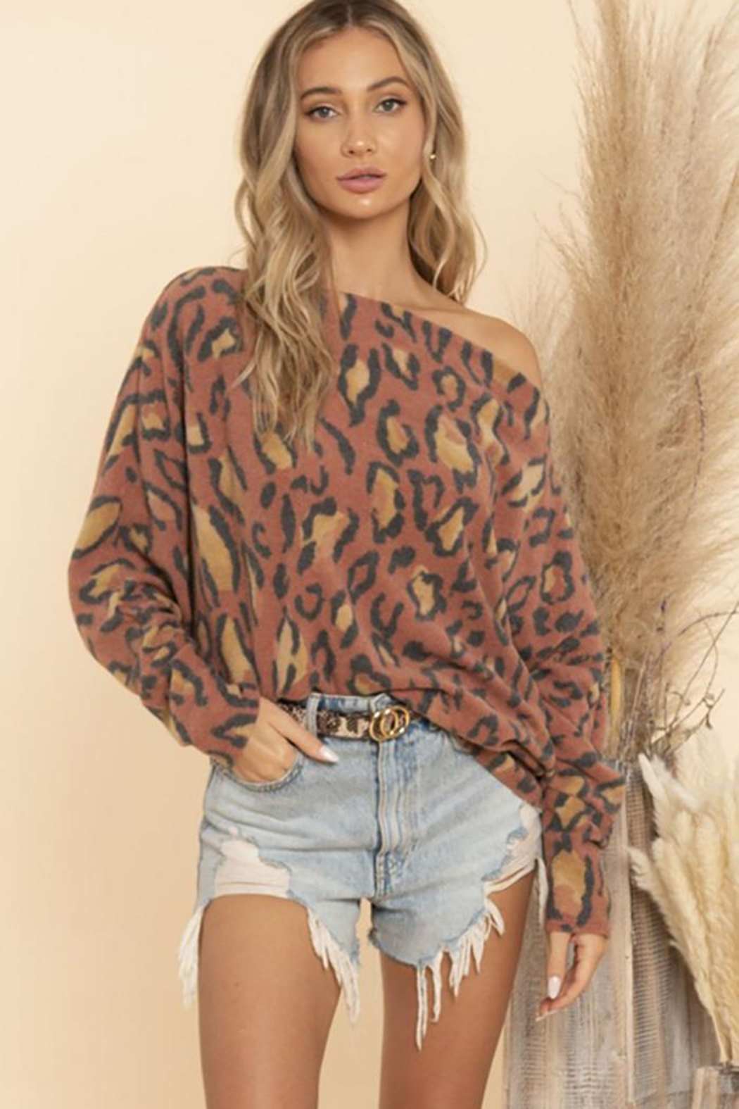 Blue Buttercup Textured Knit With Dolman Sleeve Off Shoulder - Side Cropped Image