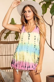 Blue Buttercup Tie Dyed Fringe Top - Product Mini Image