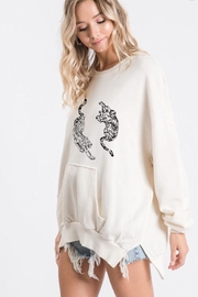 Blue Buttercup Tiger Pocket Sweater - Front full body