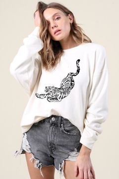 Blue Buttercup Tiger Printed Sweatshirt - Product List Image