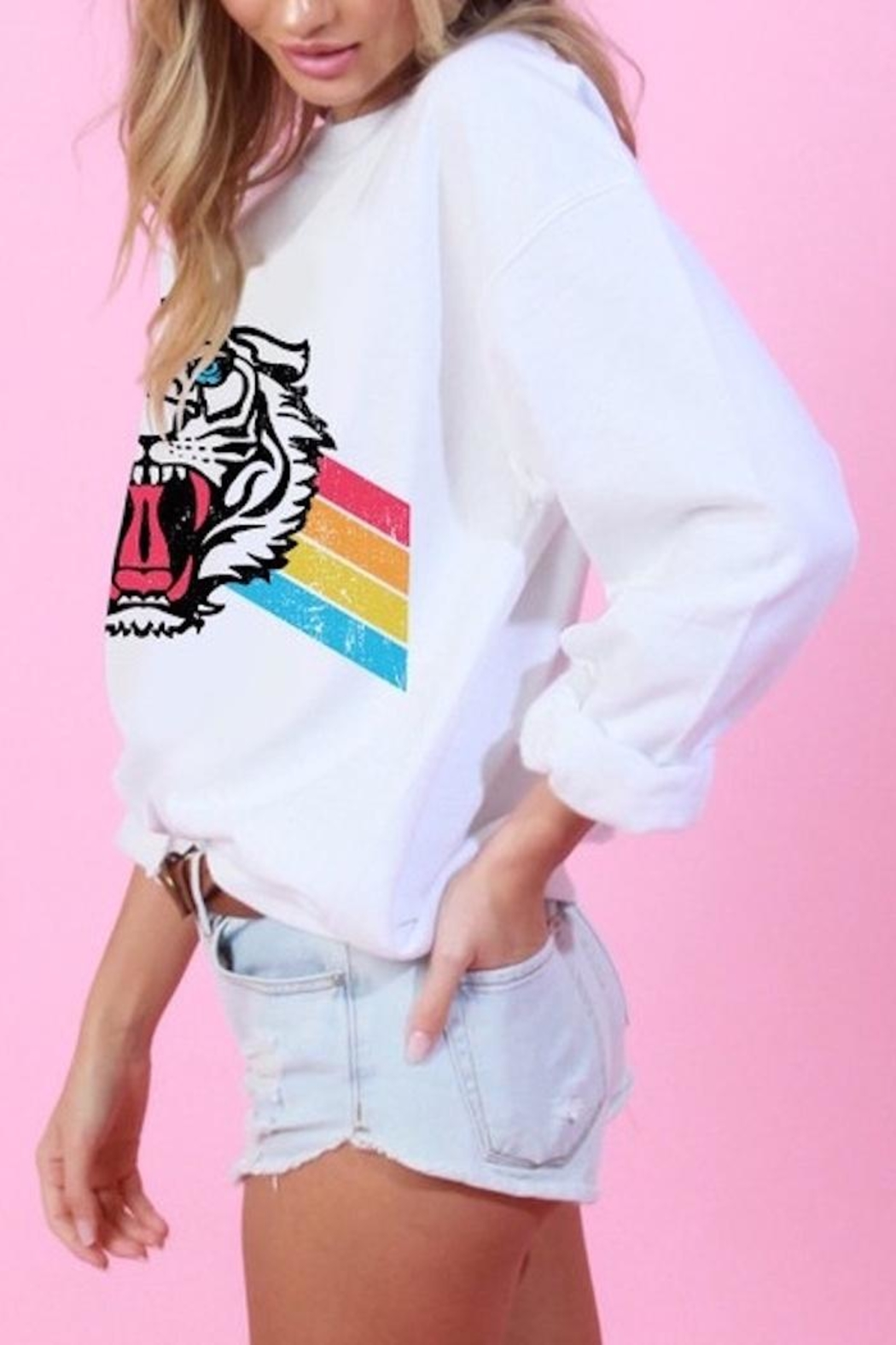 Blue Buttercup Tiger Rainbow Sweatshirt - Side Cropped Image