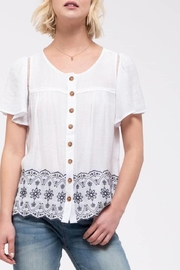 Blue Pepper Button-Front Embroidery Top - Product Mini Image