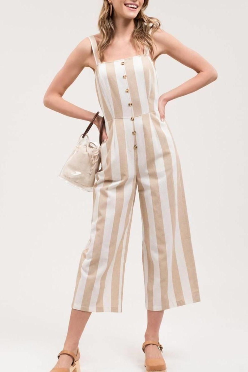 Blue Pepper Striped Button-Front Jumpsuit - Front Cropped Image