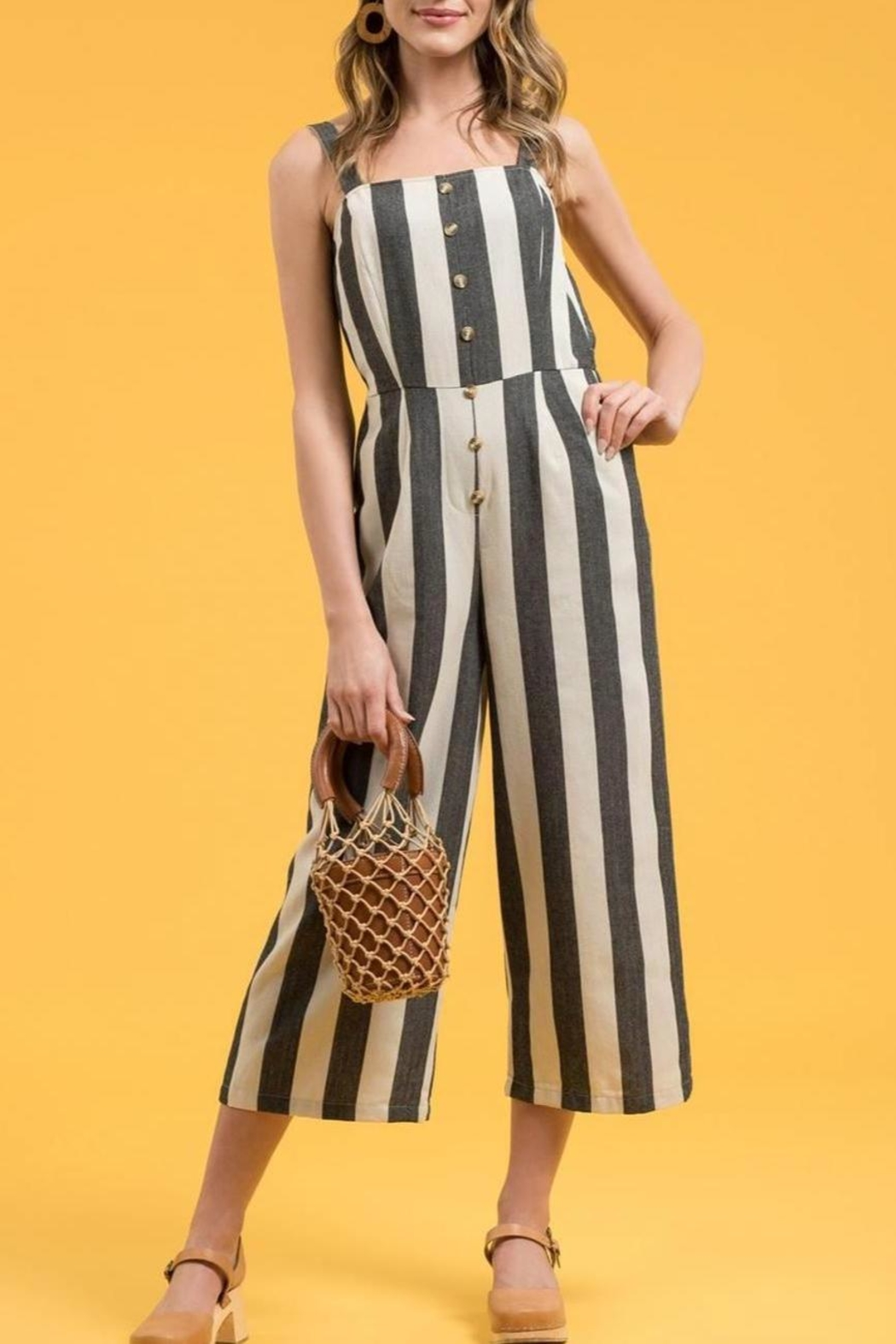 Blue Pepper Striped Button-Front Jumpsuit - Main Image