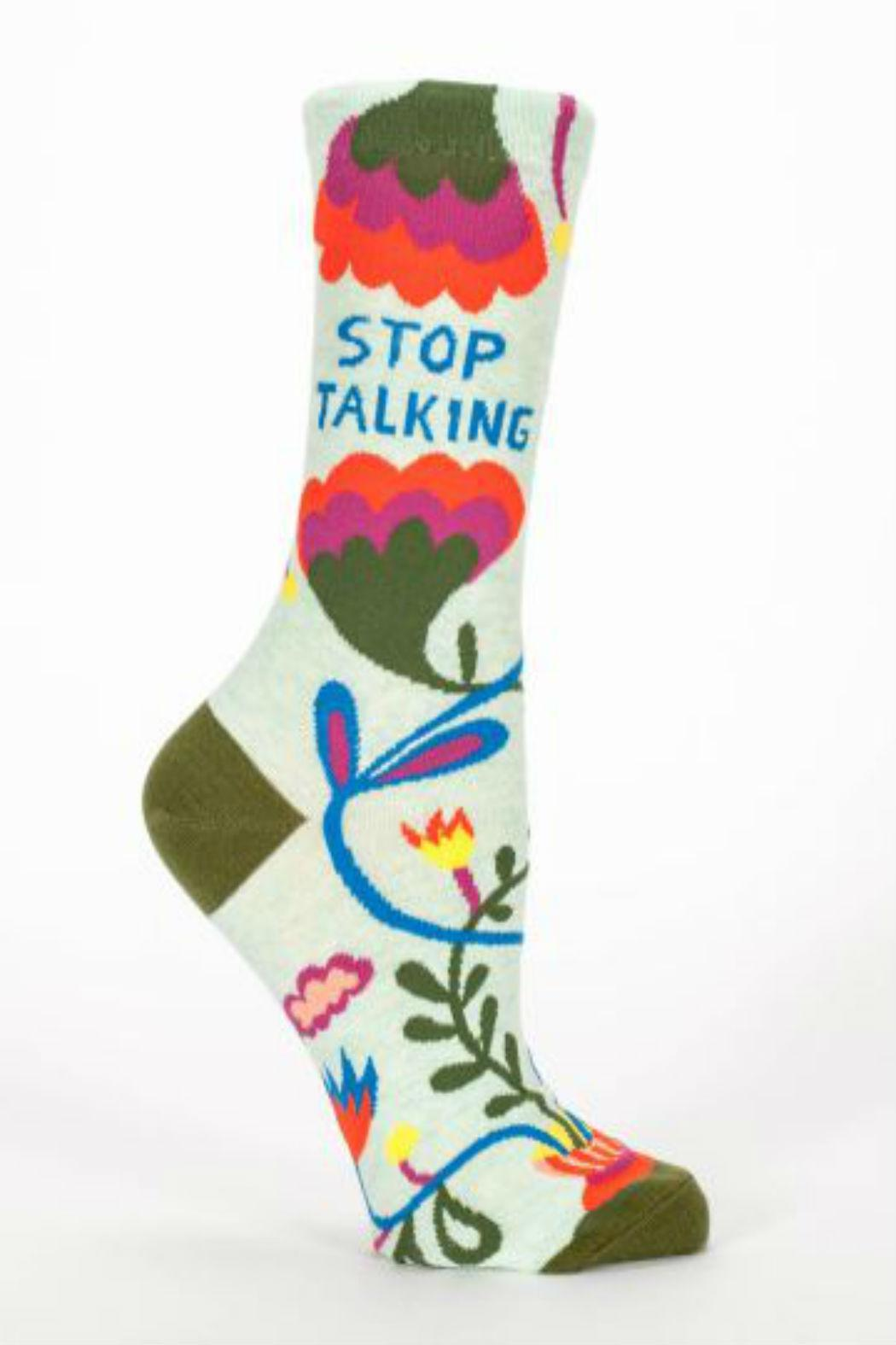 Blue Q Stop Talking Socks - Front Cropped Image