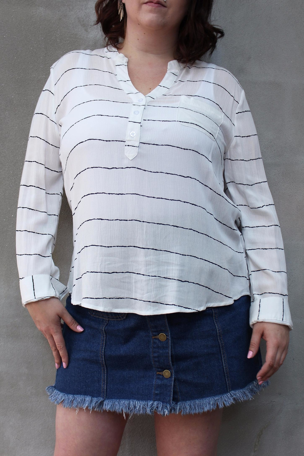 Blue Sky Stripe Lightweight Blouse - Front Cropped Image