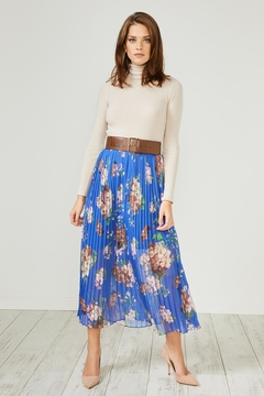 Urban Touch Bluefloral Pleated Midiskirt - Product List Image