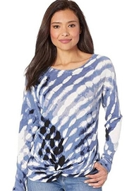 Nic + Zoe  Blue and white patterned pullover sweater - Product Mini Image