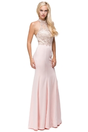 DANCING QUEEN Blush Beaded Halter Long Formal Dress - Product Mini Image