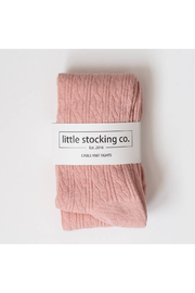 Little Stocking Co Blush Cable Knit Tights - Product Mini Image