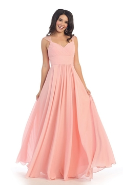 May Queen  Blush Chiffon Pleated Long Formal Dress - Product List Image