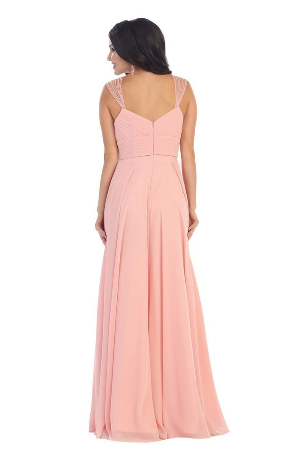 May Queen  Blush Chiffon Pleated Long Formal Dress - Front Full Image