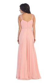 May Queen  Blush Chiffon Pleated Long Formal Dress - Front full body