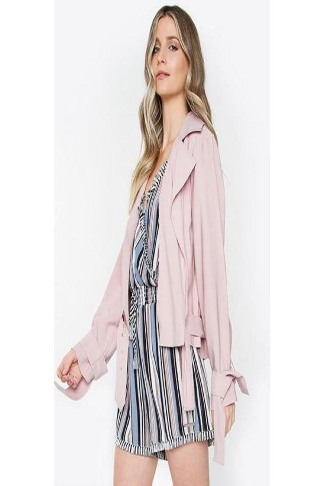 Sugar Lips Blush Crop Trench - Front Full Image