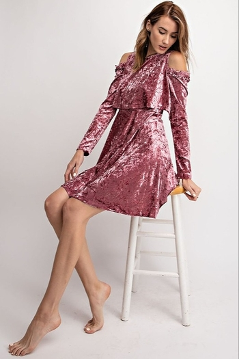 easel  Blush crushed velvet swing dress with cold shoulders from Colorado by Back In Love — Shoptiq