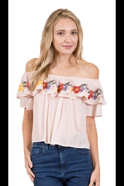 Blush Embroidered Ruffle Top - Product Mini Image