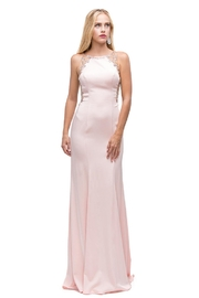 DANCING QUEEN Blush Fit & Flare Floral Embellished Long Formal Dress - Product Mini Image