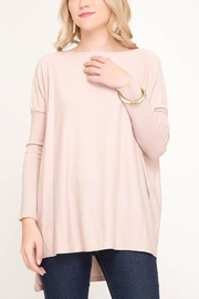 She + Sky Blush Highlow Sweater - Product Mini Image