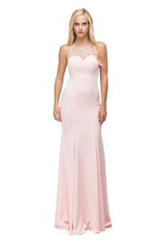 DANCING QUEEN Blush Jeweled Halter Long Formal Dress - Product Mini Image