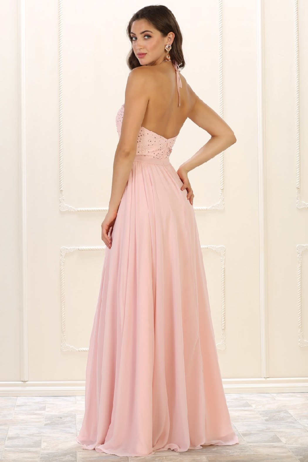 May Queen  Blush Lace Halter Top Formal Long Dress - Front Full Image