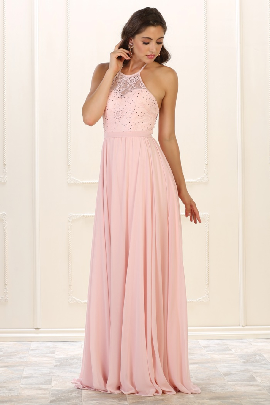 May Queen  Blush Lace Halter Top Formal Long Dress - Main Image
