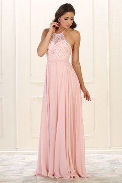 May Queen  Blush Lace Halter Top Formal Long Dress - Product List Image