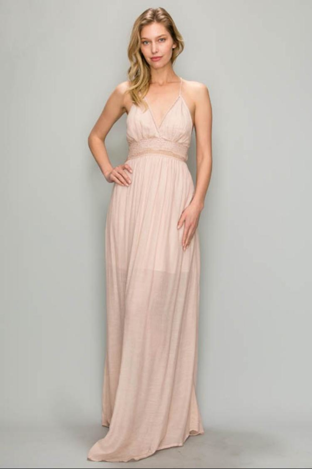 1182260081a AAKAA Blush Maxi Dress from Los Angeles by Chikas — Shoptiques