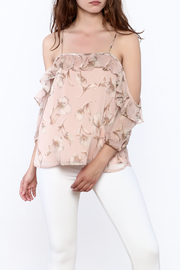 Blush Noir Floral Frills Blouse - Product Mini Image