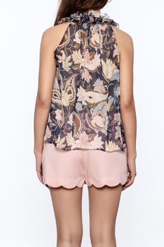 Blush Noir Floral Ruffle Top - Alternate List Image