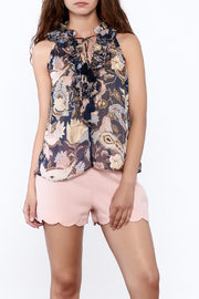 Blush Noir Floral Ruffle Top - Product Mini Image