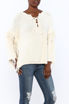 Blush Noir Fringe Poncho Sweater - Product List Image