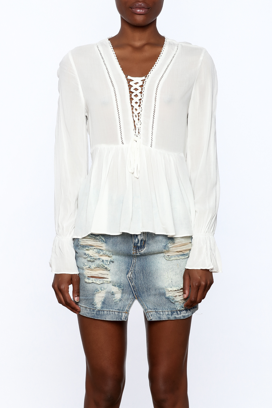 Blush Noir Lightweight White Top - Side Cropped Image