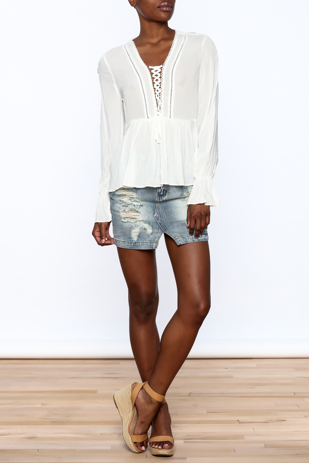Blush Noir Lightweight White Top - Front Full Image
