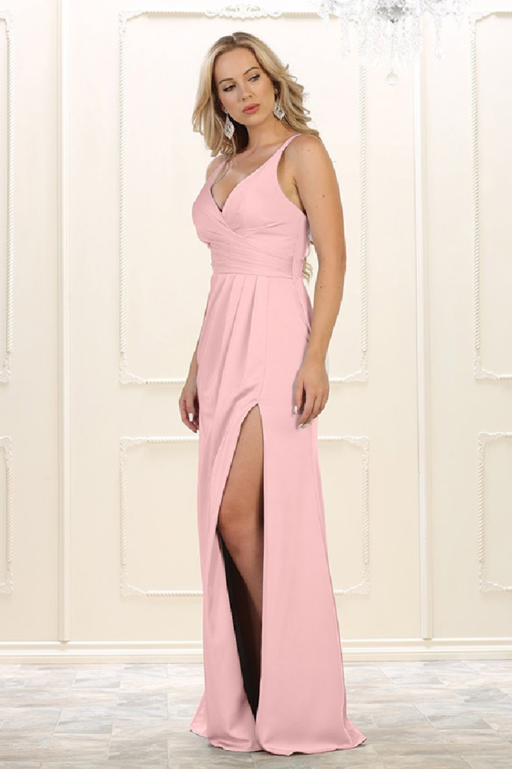 May Queen  Blush Pleated Formal Long Dress - Main Image