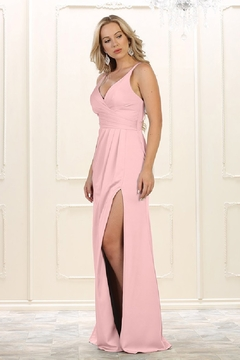 May Queen  Blush Pleated Formal Long Dress - Alternate List Image