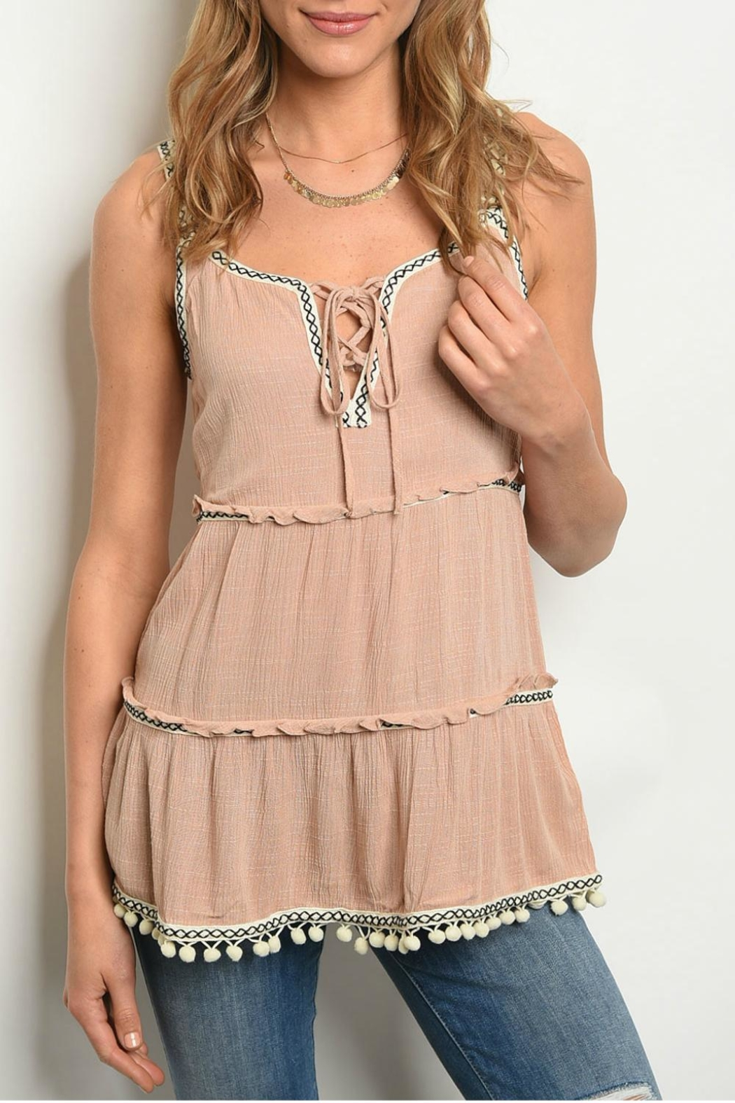 annabelle Blush Pom-Pom Tank - Front Cropped Image