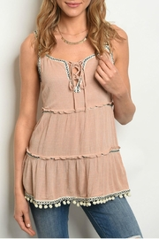 annabelle Blush Pom-Pom Tank - Front cropped