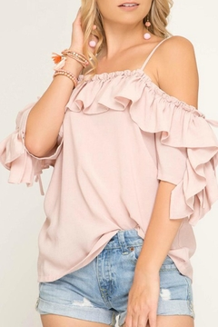 Shoptiques Product: Blush Ruffle-Sleeve Off-The-Shoulder
