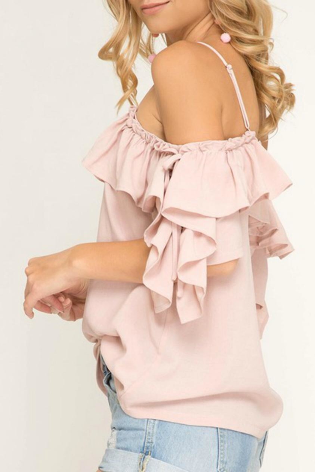She + Sky Blush Ruffle-Sleeve Off-The-Shoulder - Front Full Image